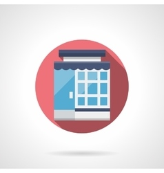 Glass store front flat color round icon vector image vector image