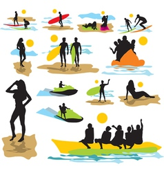 set silhouettes on the beach vector image