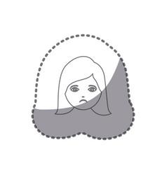 sticker silhouette cartoon human female sad face vector image vector image
