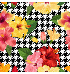 tropical hibiscus flower seamless pattern vector image