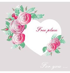 vignette heart of flowers vector image