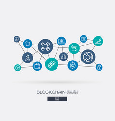 crypto currency and blockchain integrated thin vector image