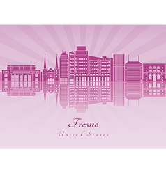 Fresno V2 skyline in purple radiant orchid vector image vector image