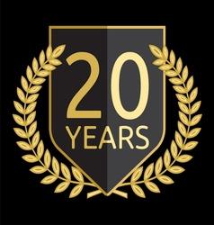 Golden laurel wreath 20 years vector image