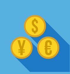 money set - dollar euro yen icon vector image vector image