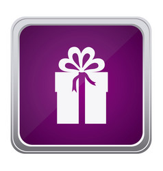 purple emblem box with bow ribbon icon vector image vector image