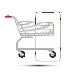 shopping cart with smartphone outline isolated vector image
