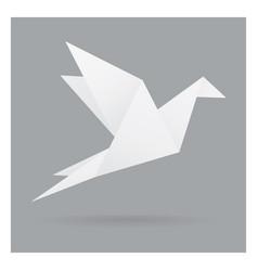 white bird paper craft flying in frame art vector image