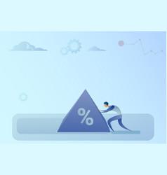 business man pushing percent sign debt credit vector image