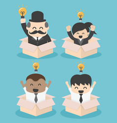businessman think outside the box flat vector image