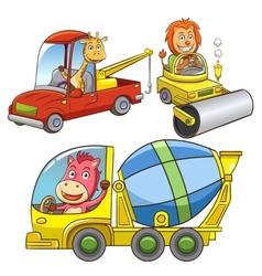 set of construction vehicle animal cartoon vector image
