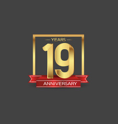 19 years anniversary logo style with golden vector