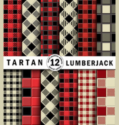 3d set lumberjack tartan seamless patter vector