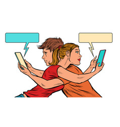 a couple young men and a girl with smartphones vector image