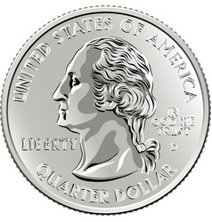 American money washington quarter 25 cent coin vector