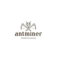 Ant lines head miner logo symbol icon graphic vector