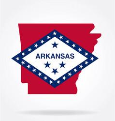 Arkansas state shape with flag logo vector