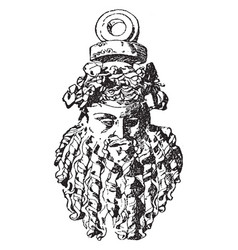 bacchus mask is a graeco italic style vintage vector image