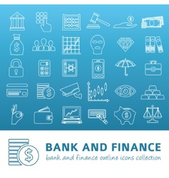 Bank and finance outline icons vector