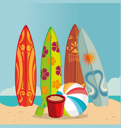 beach landscape with surf boards scene vector image