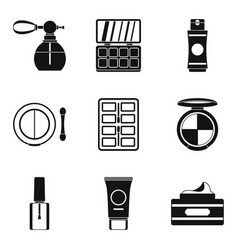 Beautician icons set simple style vector