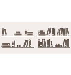 Book on shelf icon set bookshelf school objects vector