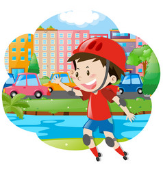 Boy rollerskates in the city vector