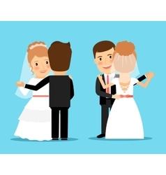 Bride and groom dance vector