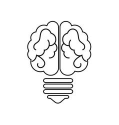 Bulb light with brain vector