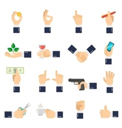 Business hand icons flat vector