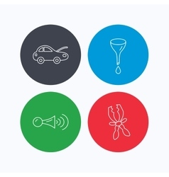 Car repair oil change and signal icons vector image