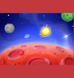 cartoon alien landscape lunar red planet vector image