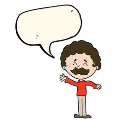 Cartoon man with mustache waving with speech vector