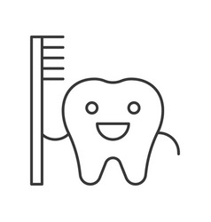Cartoon tooth hold toothbrush simple outline icon vector