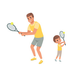 Cheerful dad and his son playing in tennis father vector