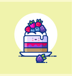 Cheesecake cream mousse jelly forest berries vector