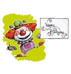 Clown holding a happy birthday card vector