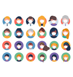 collection multi ethnic avatars wearing masks vector image