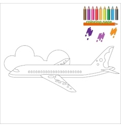 Coloring page with airplane vector