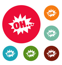 Comic boom oh icons circle set vector