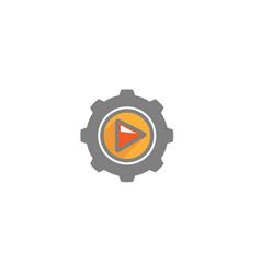 creative gear play logo design vector image