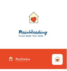 creative love house logo design flat color logo vector image
