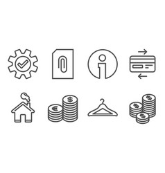 Credit card service and currency icons cloakroom vector
