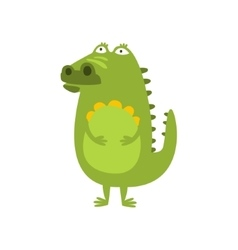 Crocodile Standing Daydreaming And Thinking Flat vector