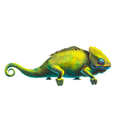 Cute green chameleon on white vector