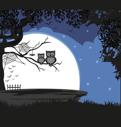 cute halloween with full moon bats and owls vector image