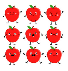 Cute red aple characters set with different vector