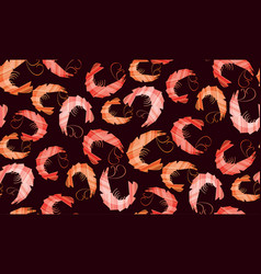 decorative stylish shrimp seamless pattern vector image