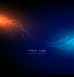 Digital particles flow on blue technology vector