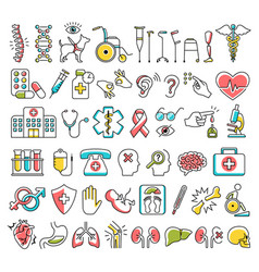 Disability and medical icons signs isolated vector